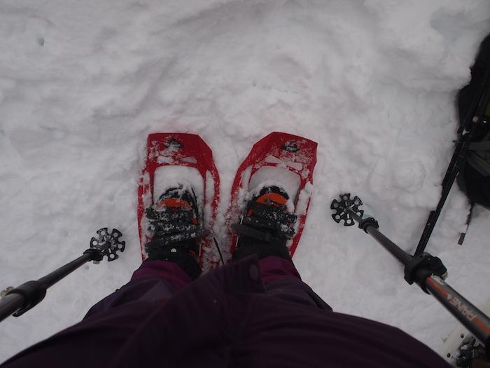 スノーシューで雪の上を歩く