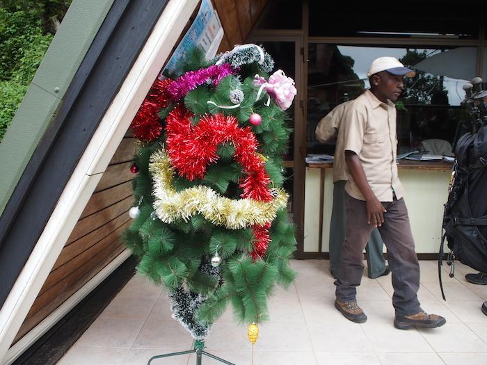 登山登録事務所の前にはオリジナリティあふれるクリスマスツリー