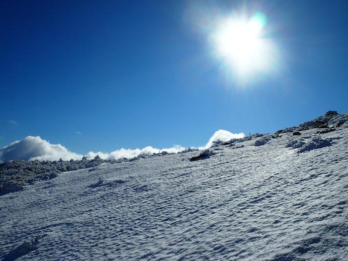 天気ならではの雪の風紋が見られます