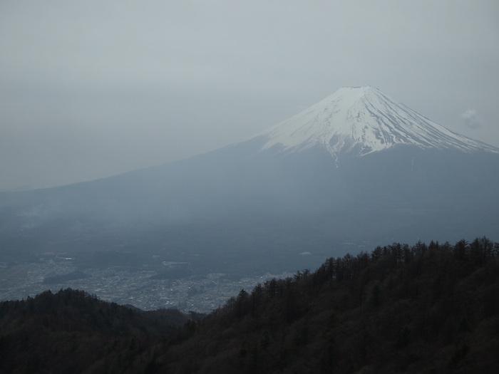 絶妙なブルーグレーの春の富士