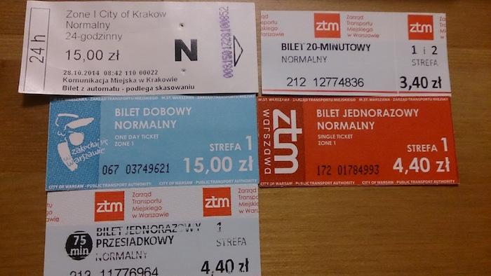 トラムの切符コレクション。時間により金額が異なる