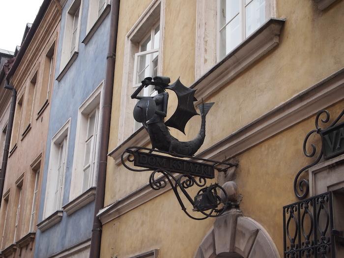 ワルシャワの象徴、人魚をあしらった看板