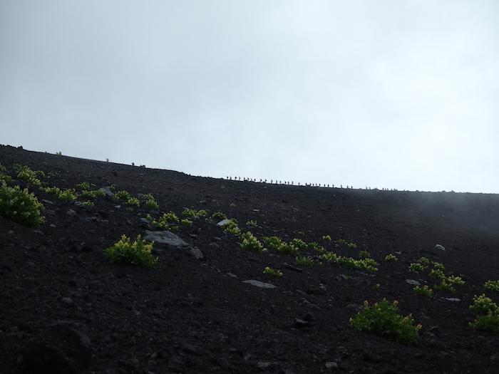 稜線の上のトゲトゲは、人の列です