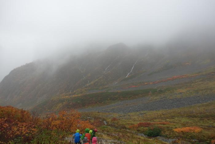 ガスが少しずつ薄れて、斜面 紅葉が見えてきました!